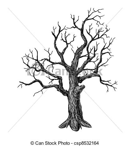 417x470 Bare Tree Drawing With Roots