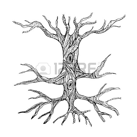 450x450 Big Old Tree With Roots For Your Design Royalty Free Cliparts