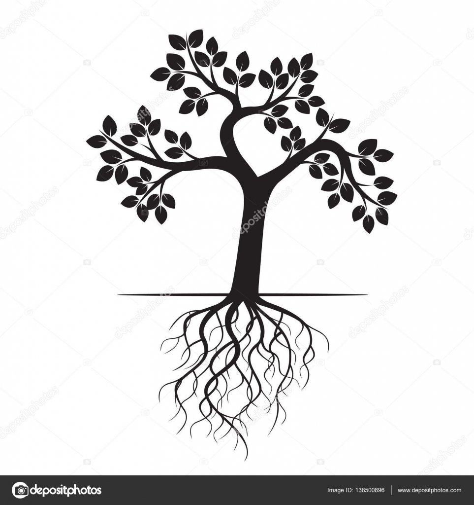 963x1024 Black Apple Tree And Roots. Vector Illustration. Stock Vector