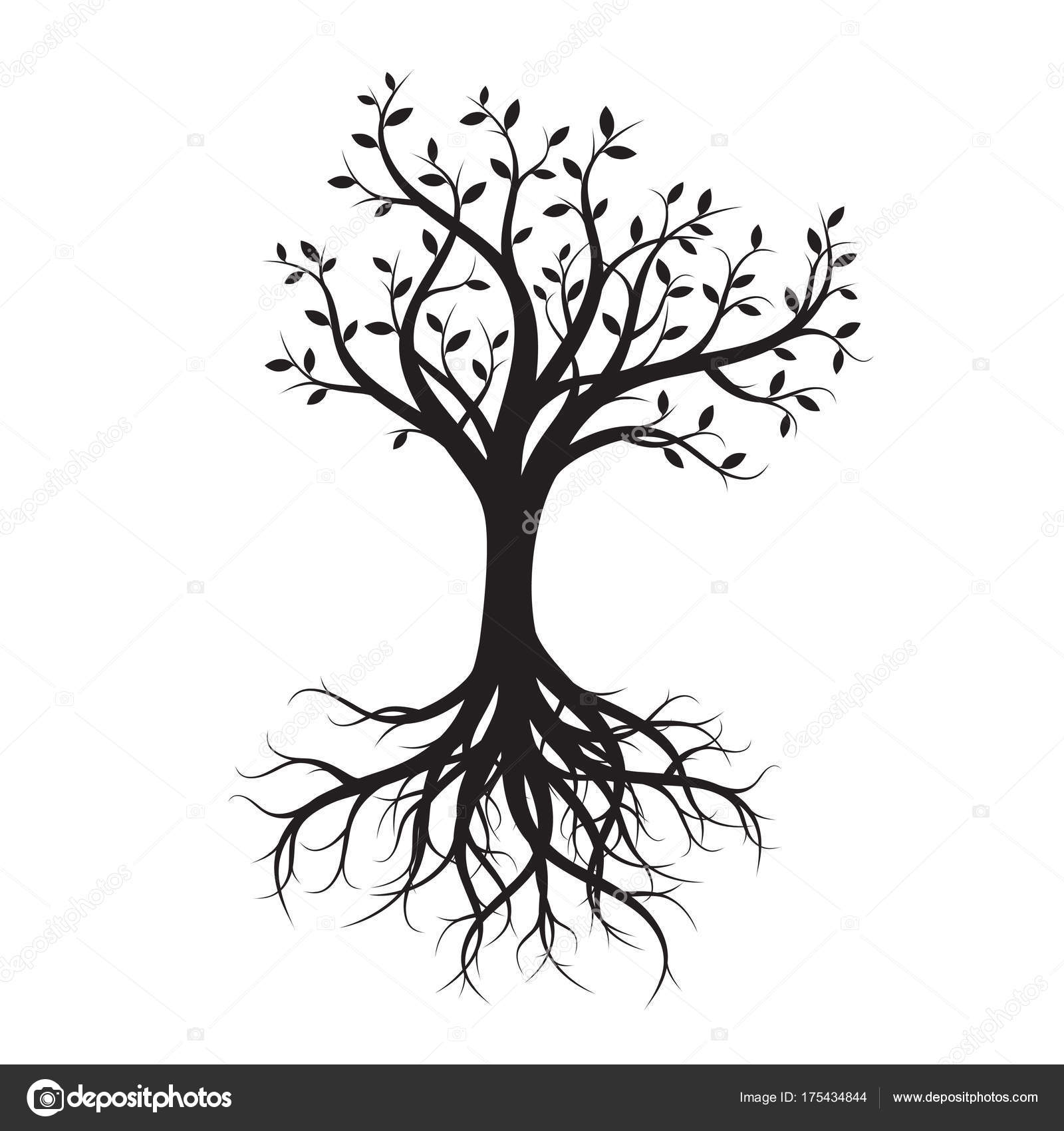 1600x1700 Black Tree With Roots. Vector Illustration. Stock Vector