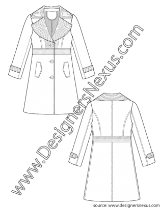 316x409 004 Fashion Flat Sketch Trench Coat Exaggerated Notch Collar
