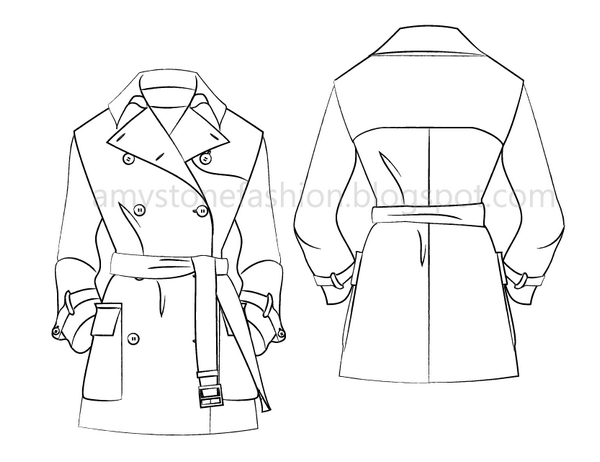 600x462 Fashion Flat Sketches Trench Coat Fashion Flat Template 0147