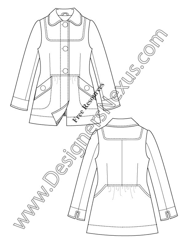 612x792 Free Downloads Illustrator Coat Flat Sketches