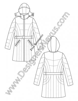316x409 026 Hooded Belted Puffer Coat Illustrator Flat Fashion Sketch