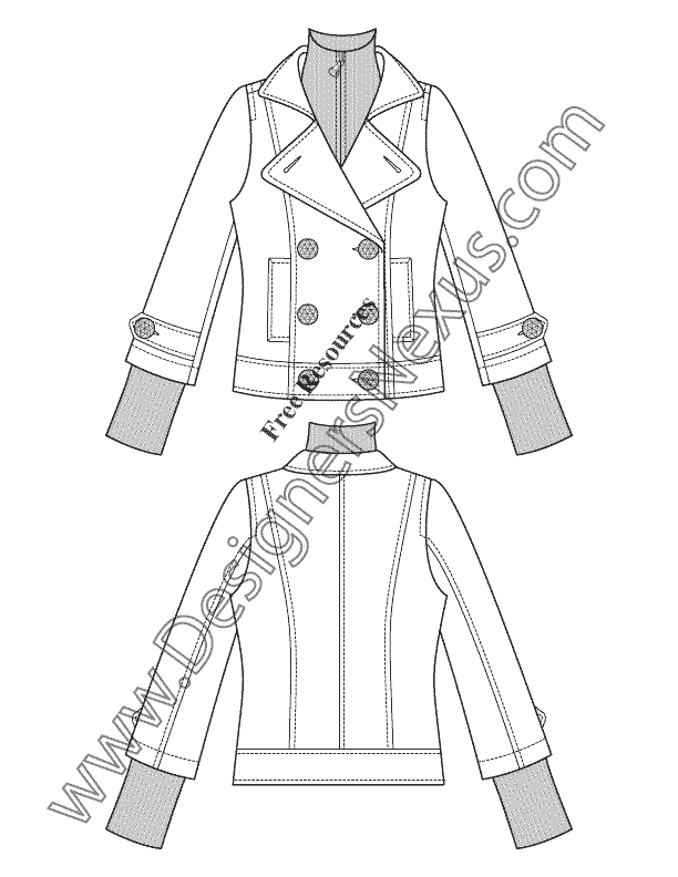 612x792 V14 Short Layered Trench Coat Flat Fashion Sketch Pop