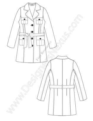 316x409 V16 Free Vector Fashion Flat Sketch Trench Coat