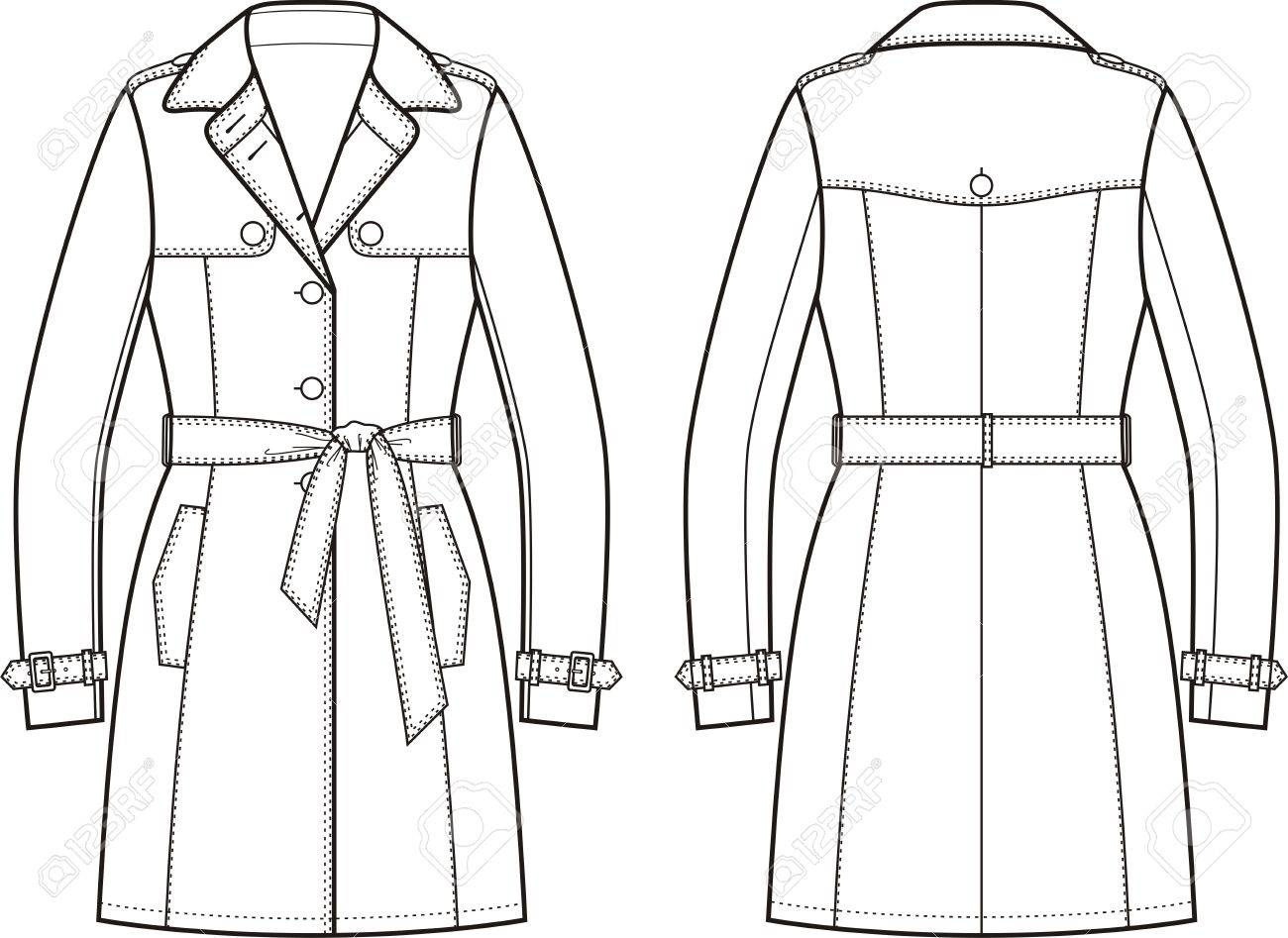 1300x947 Vector Illustration Of Women's Trench Coat. Front And Back Views