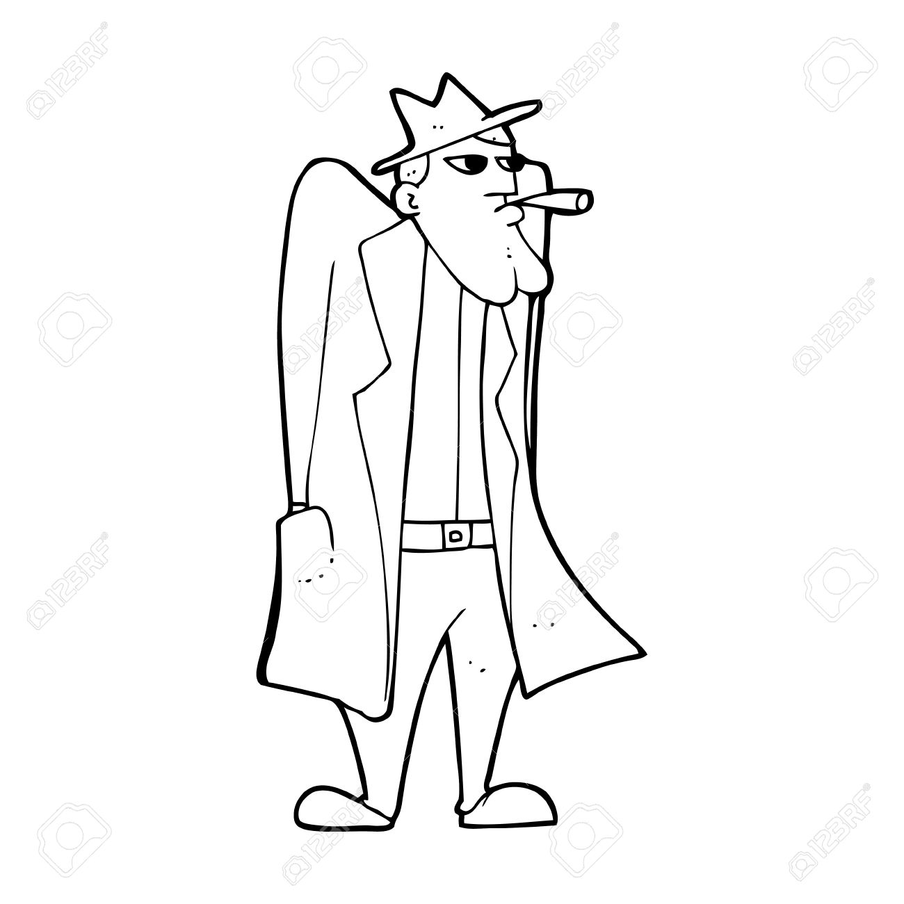 1300x1300 Cartoon Man In Hat And Trench Coat Royalty Free Cliparts, Vectors