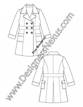 316x409 Notched Collar Double Breasted Trench Coat V13 Flat Fashion Sketch