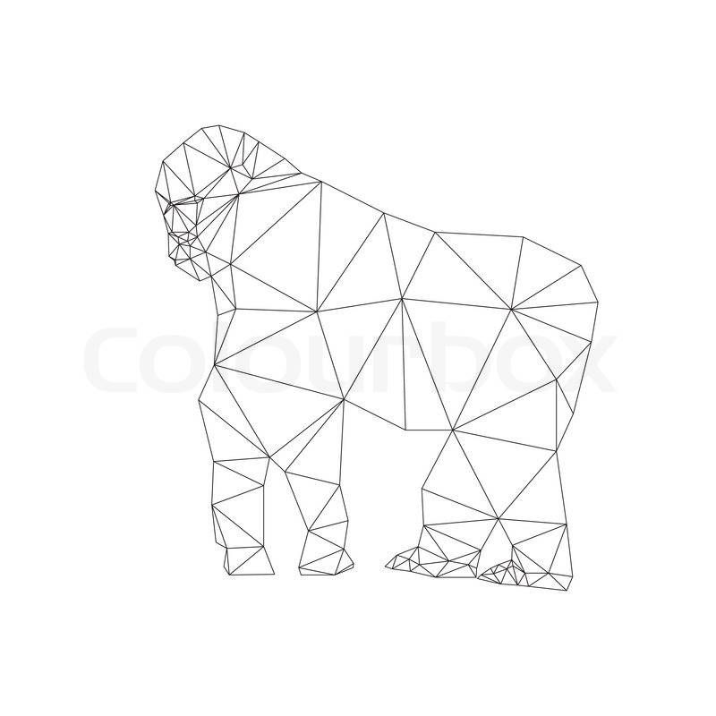 800x800 Gorilla Triangle Low Polygon Style. Good Use For Symbol, Sticker