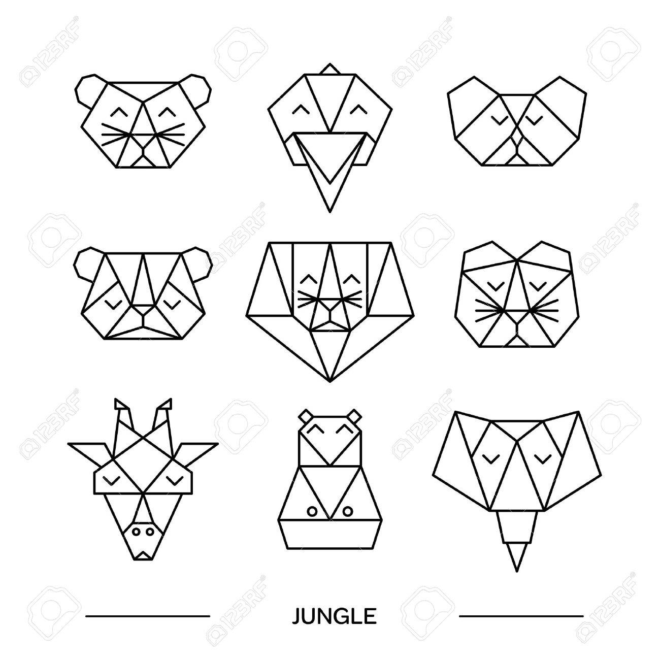 1300x1300 Origami Vector Animals Set. Animal Triangle Heads. Vector Origami