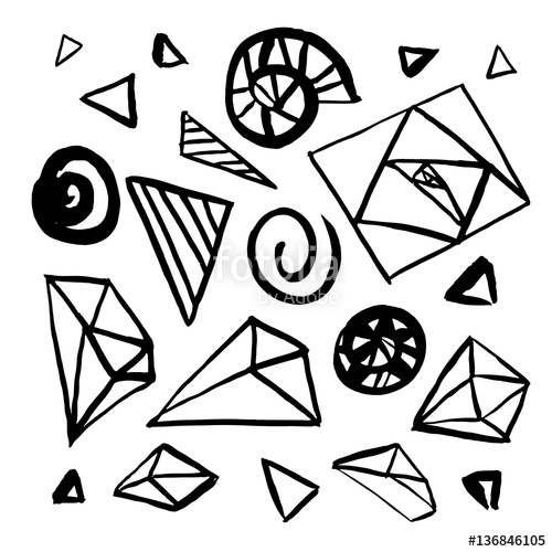 500x500 Set Of Hand Drawn Geometric Design Elements. Freehand Drawing