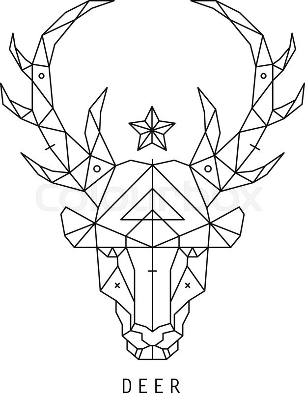 621x800 Stylized Deer Head Silhouette With Triangles Design. Stock