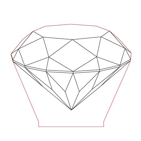450x450 Diamond 3d Illusion Lamp Plan Vector File For Cnc