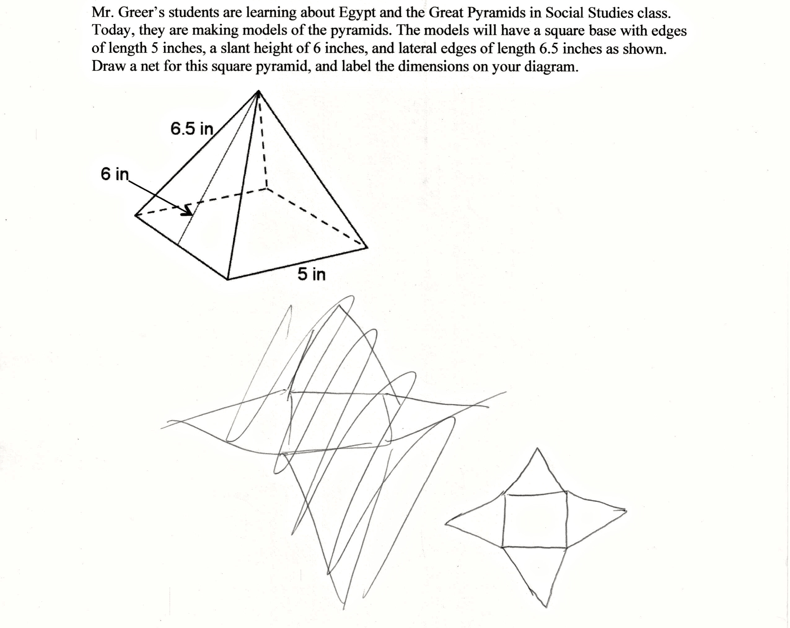 2550x2026 Pyramid Project Students Are Asked To Draw A Net Of A Three
