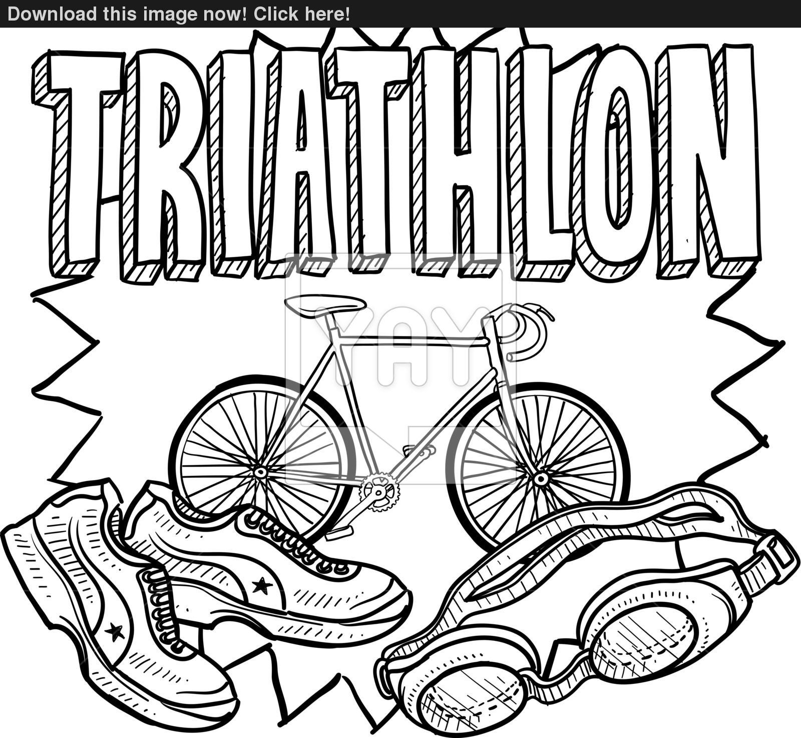 1600x1474 Triathlon Sketch Vector