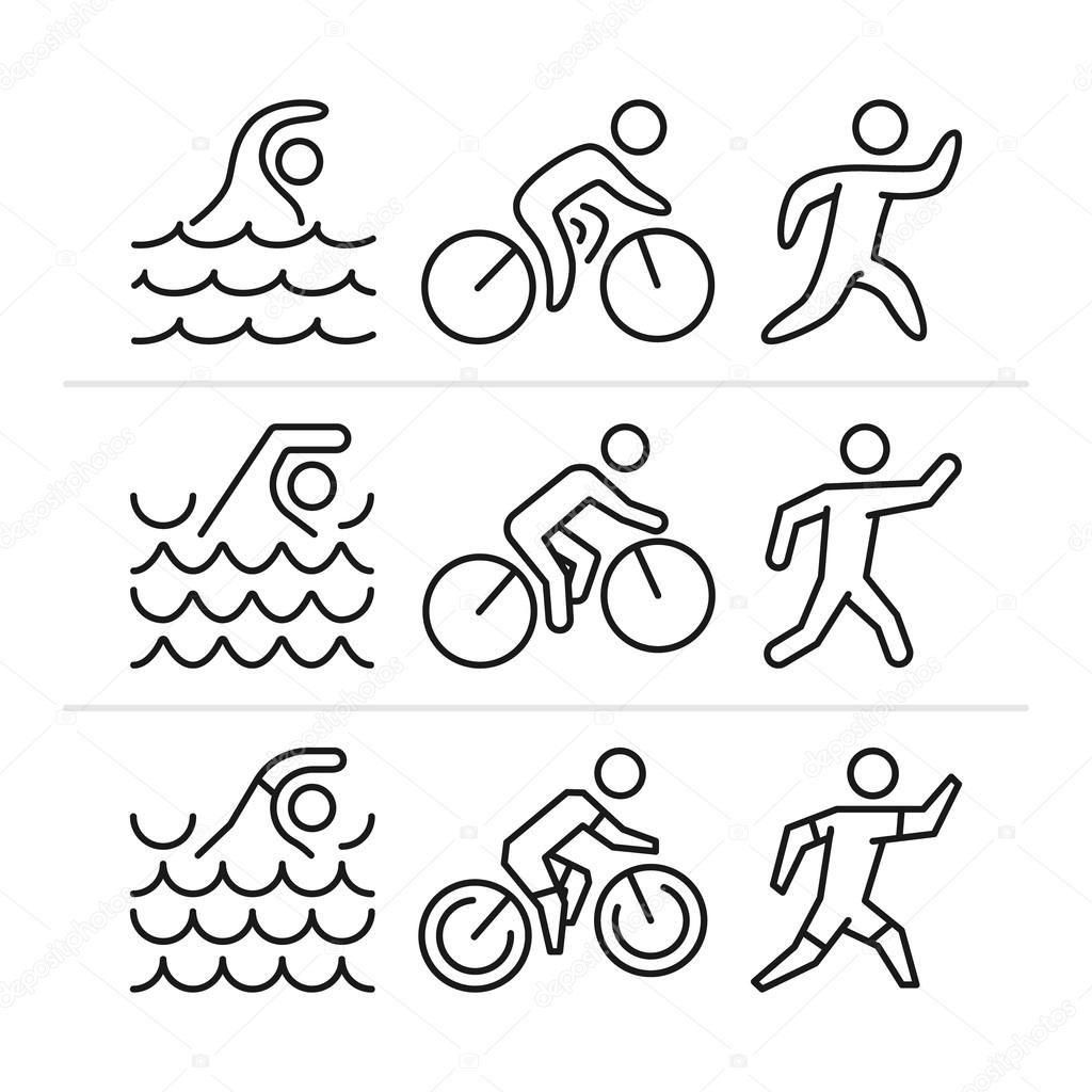 1024x1024 Vector Linear And Flat Triathlon Logo And Icons. Stock Vector