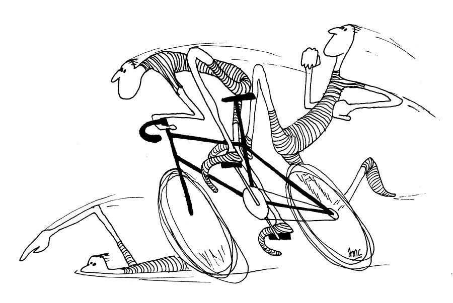 900x603 Le Triathlon De La Gaude Drawing By David Connaughton