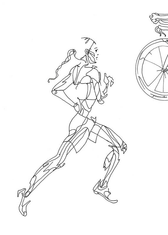 570x799 Art Print Of Female Triathlon Drawing