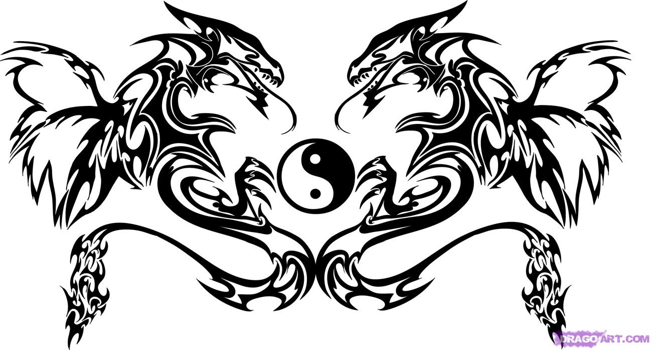 1300x697 How To Draw Twin Dragon Trible Art, Step By Step, Tribal Art, Pop