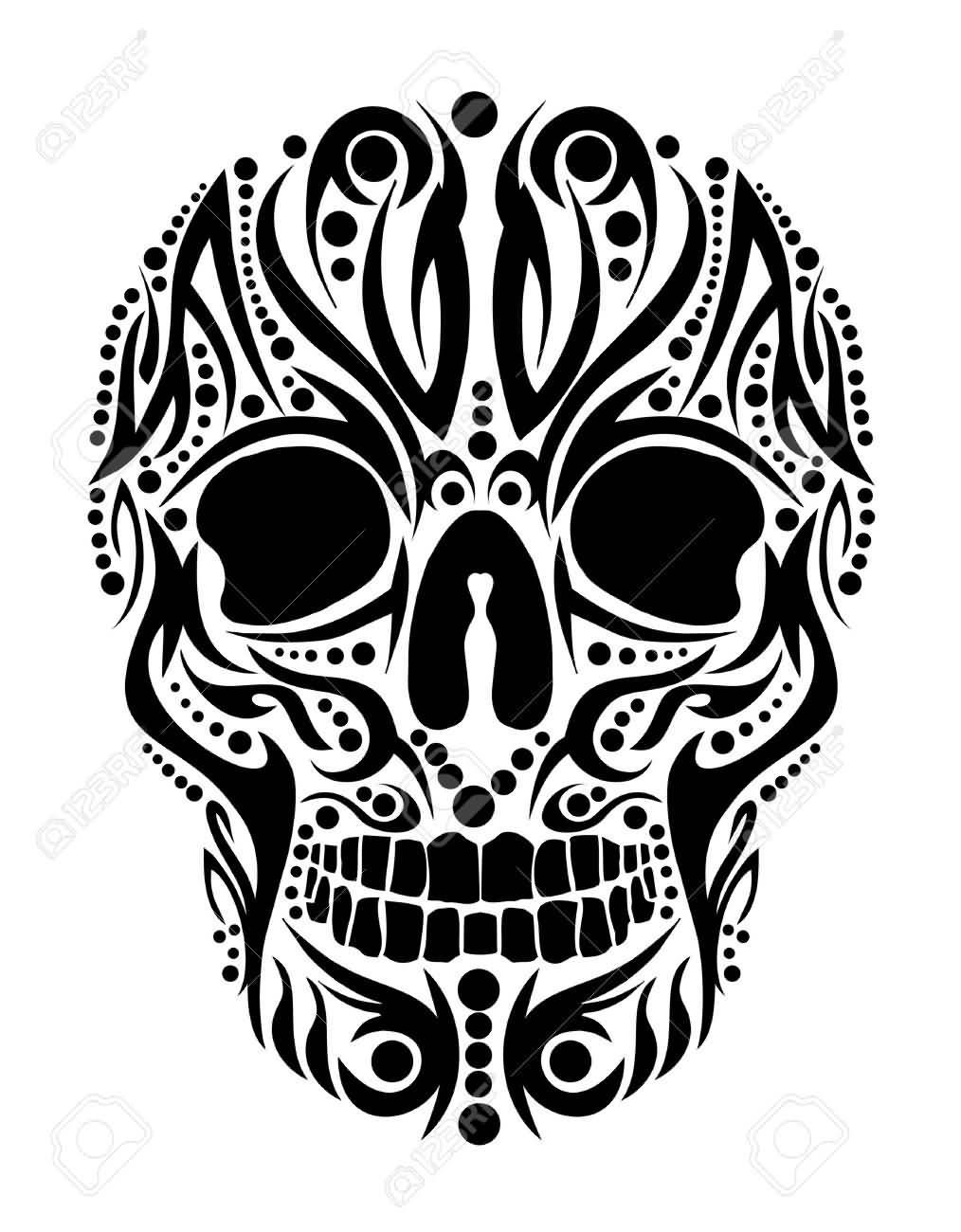 1014x1300 Tribal Skull Drawings Black Tribal Skull Tattoo Design