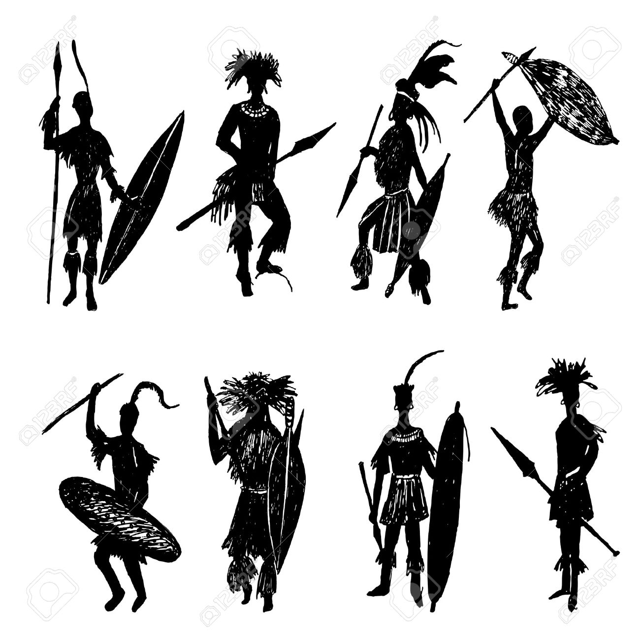 1300x1300 African Tribal Warriors Drawing Sketch Illustration Royalty Free