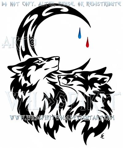 400x484 Wolf And Fox + Tear Drop Moon Tribal Design By Wildspiritwolf