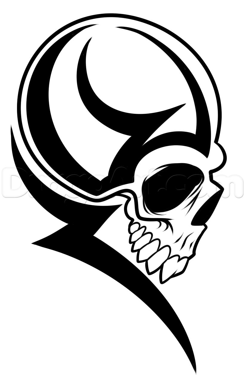 820x1255 How To Draw A Tribal Skull Head Step 7 Interest Art Types