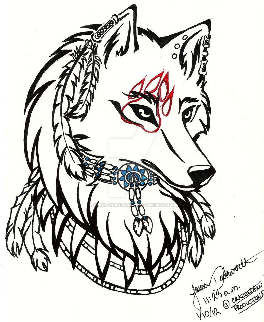 900x1097 Tribal Wolf Drawings
