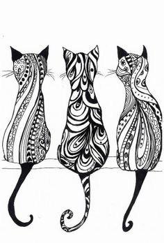 Tribal Cat Drawing