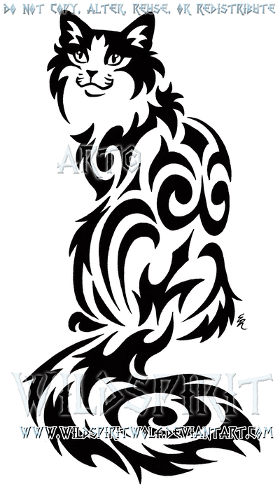 400x711 Sitting Tribal Cat Design By Wildspiritwolf
