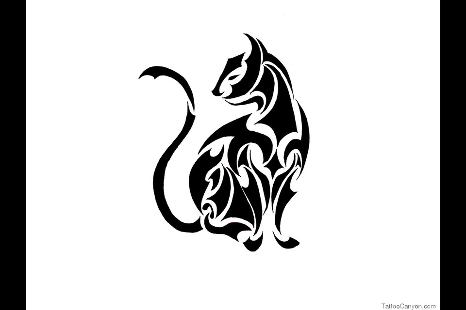 960x640 Sitting Tribal Cat Tattoo Design In 2017 Real Photo, Pictures