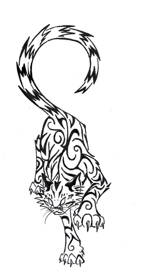 486x951 Tribal Cat By Basiliskzero