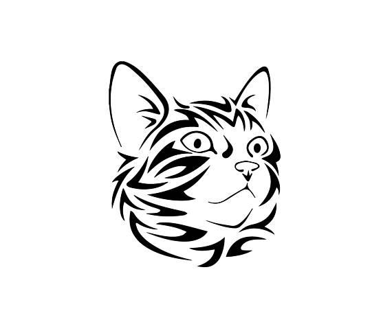 570x466 Tribal Cat Face Download, Unique Animal Svg, Dxf, Eps, Ai, Png