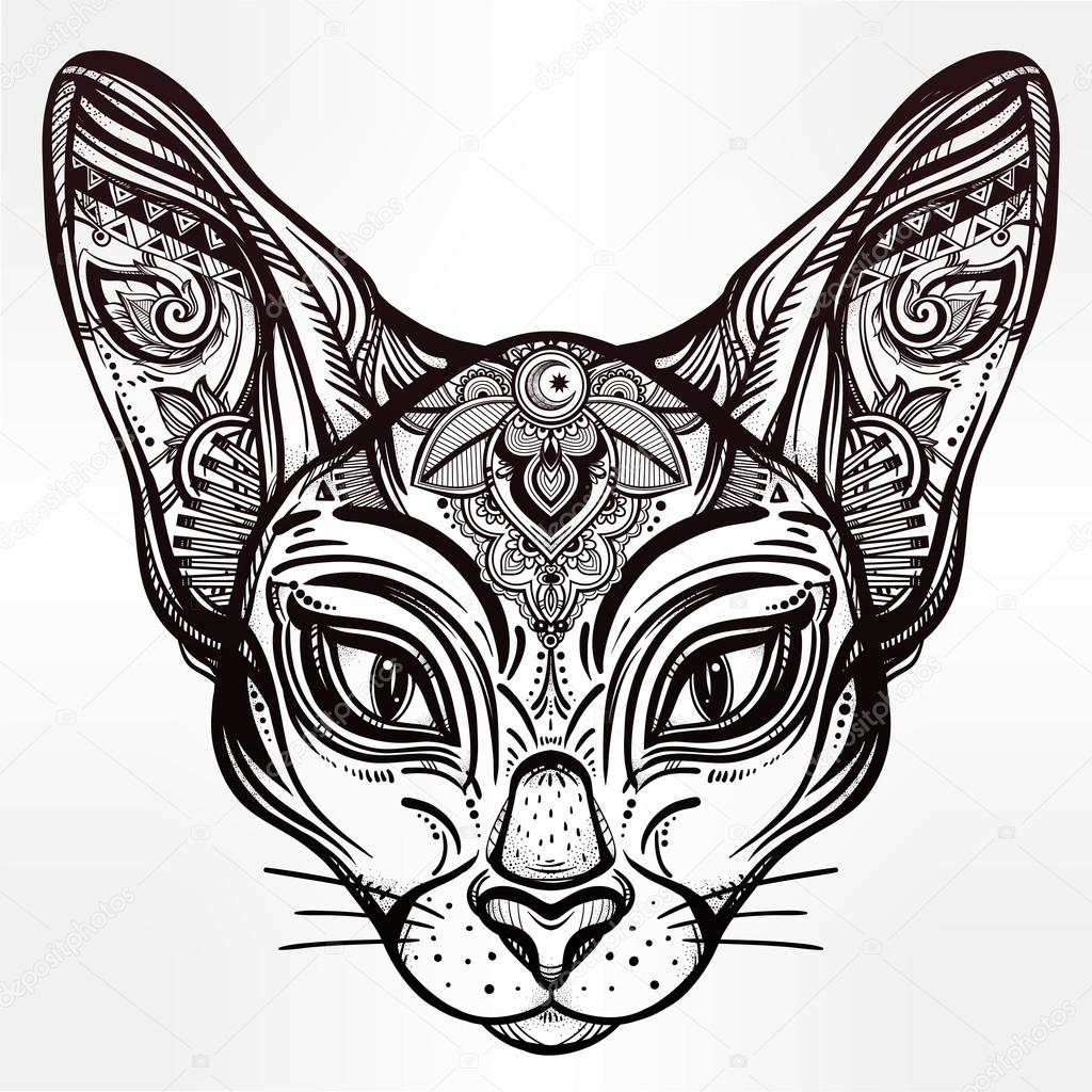 1024x1024 Vintage Ornate Cat Head With Tribal Ornaments. Stock Vector