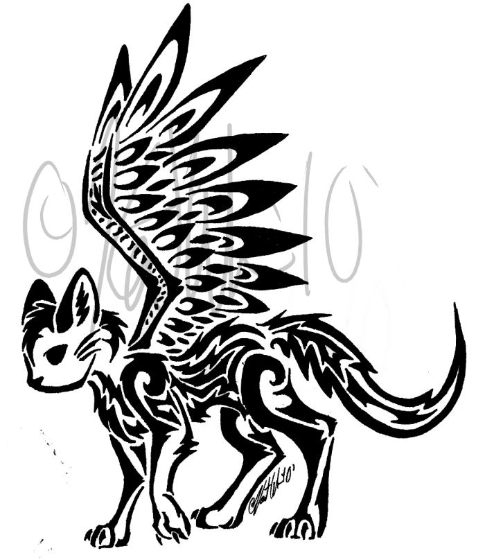 700x808 Winged Cat Tribal By Kittykatofhyperness Other