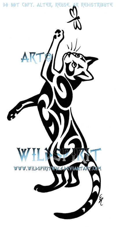400x780 Cat And Dragonfly Tattoo By Wildspiritwolf