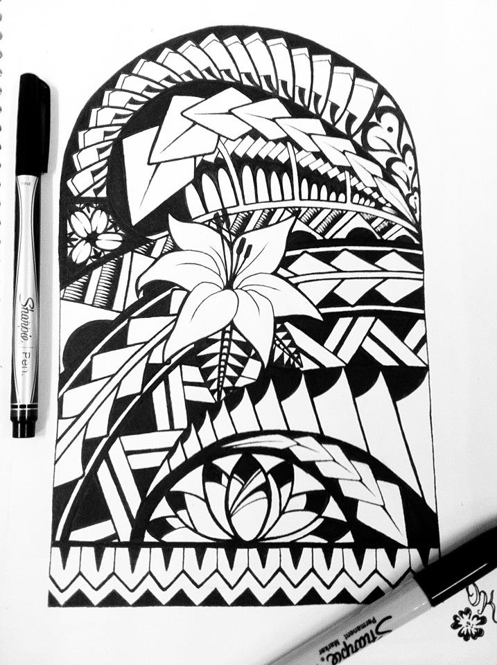 717x960 Collection Of Upper Back Aztec Tattoo Design