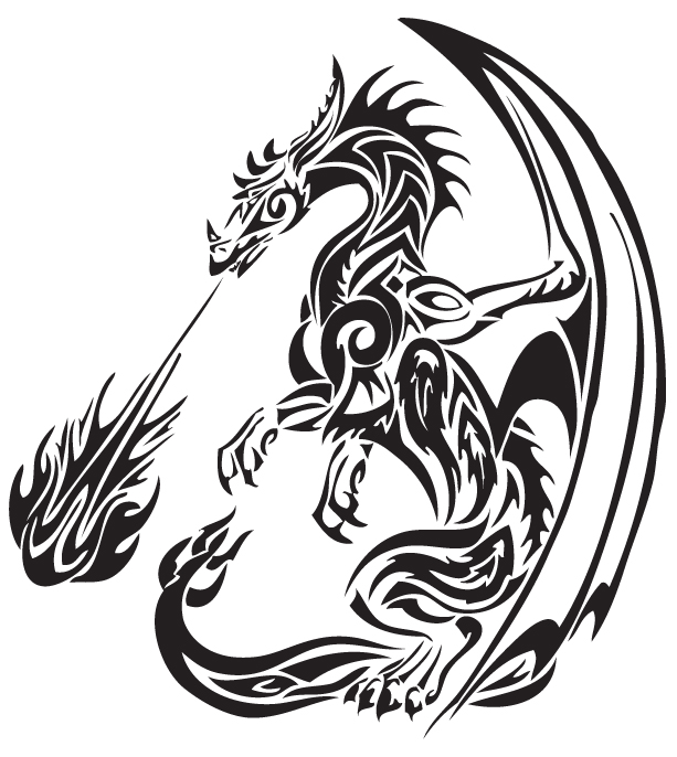 613x686 37 Tribal Dragons For Sticker Design Inspiration Uprinting