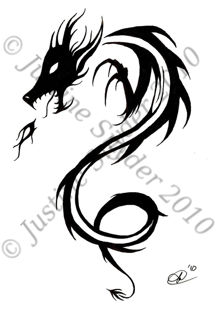 49b5f15af Tribal Dragon Drawing at GetDrawings.com | Free for personal use ...