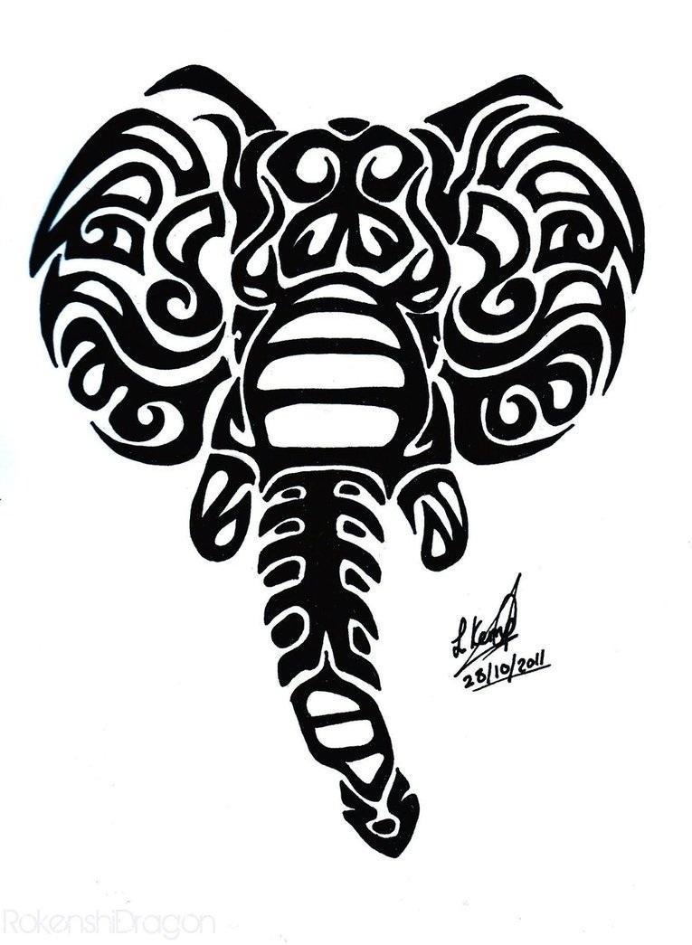 765x1045 Wonderful Black Tribal Elephant Head Tattoo Design Tattoos