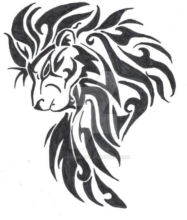 600x704 Large Tribal Lion Head Tattoo Design By Tessasglory Large Tribal