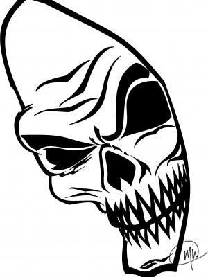 300x400 Skeleton Face Digital Tribal Drawing Leannaparks