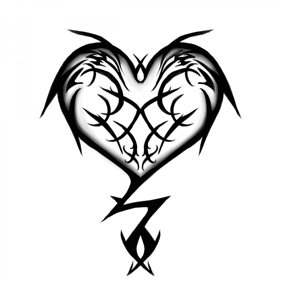 900x900 Tribal Heart Tattoo Design