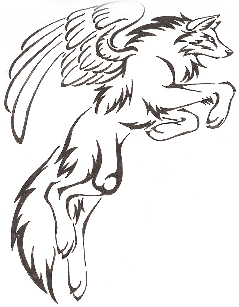 780x1000 Mysticalfantasy Leaping Tribal Wolf Drawing With Wings Tattoo