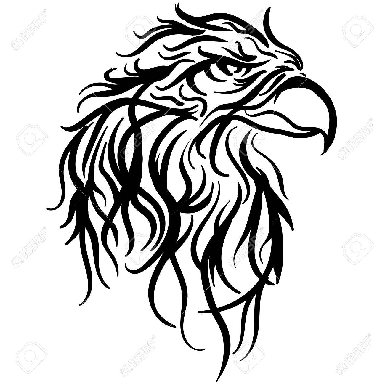 1300x1300 The Stylized Image Of A Eagle Head. Vector Stylized Face Of Ink