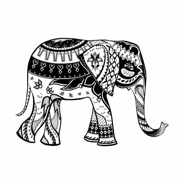 600x600 Elephant Mandala Art Tribal Vinyl Car Sticker Doggy Style Gifts