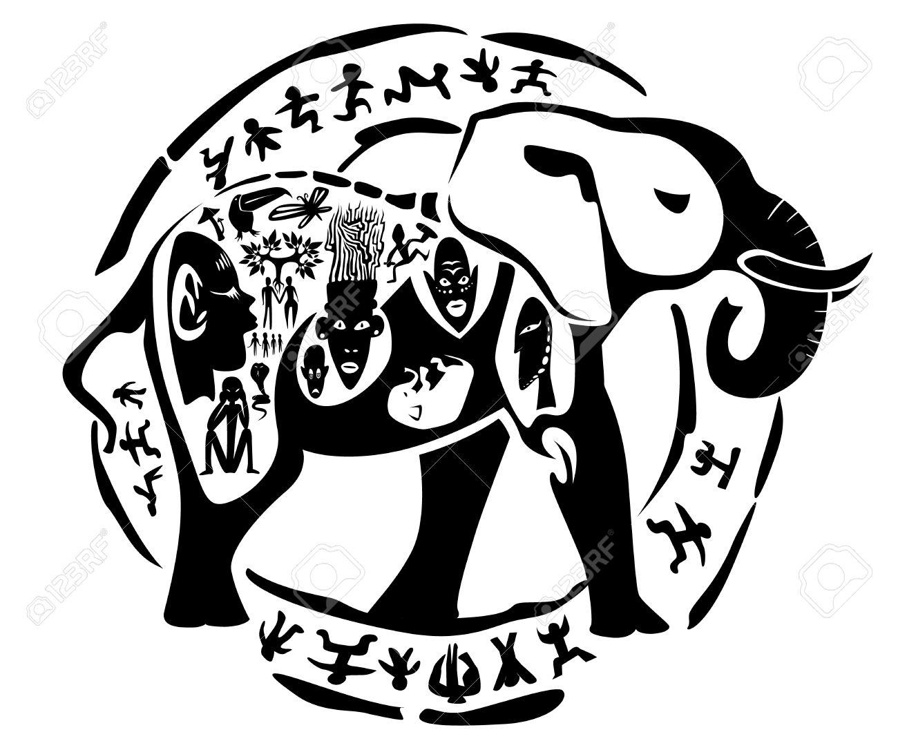 1300x1086 Tribal Elephant, Mammoth Illustration, Tattoo Stamp Royalty Free