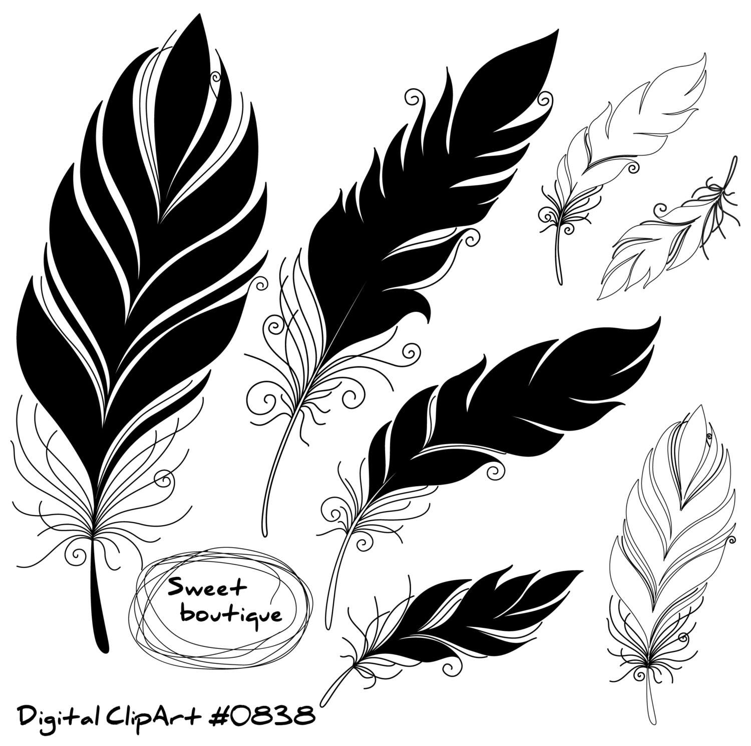 1500x1490 Feather Silhouettes, Digital Feathers, Feathers Digital Clipart