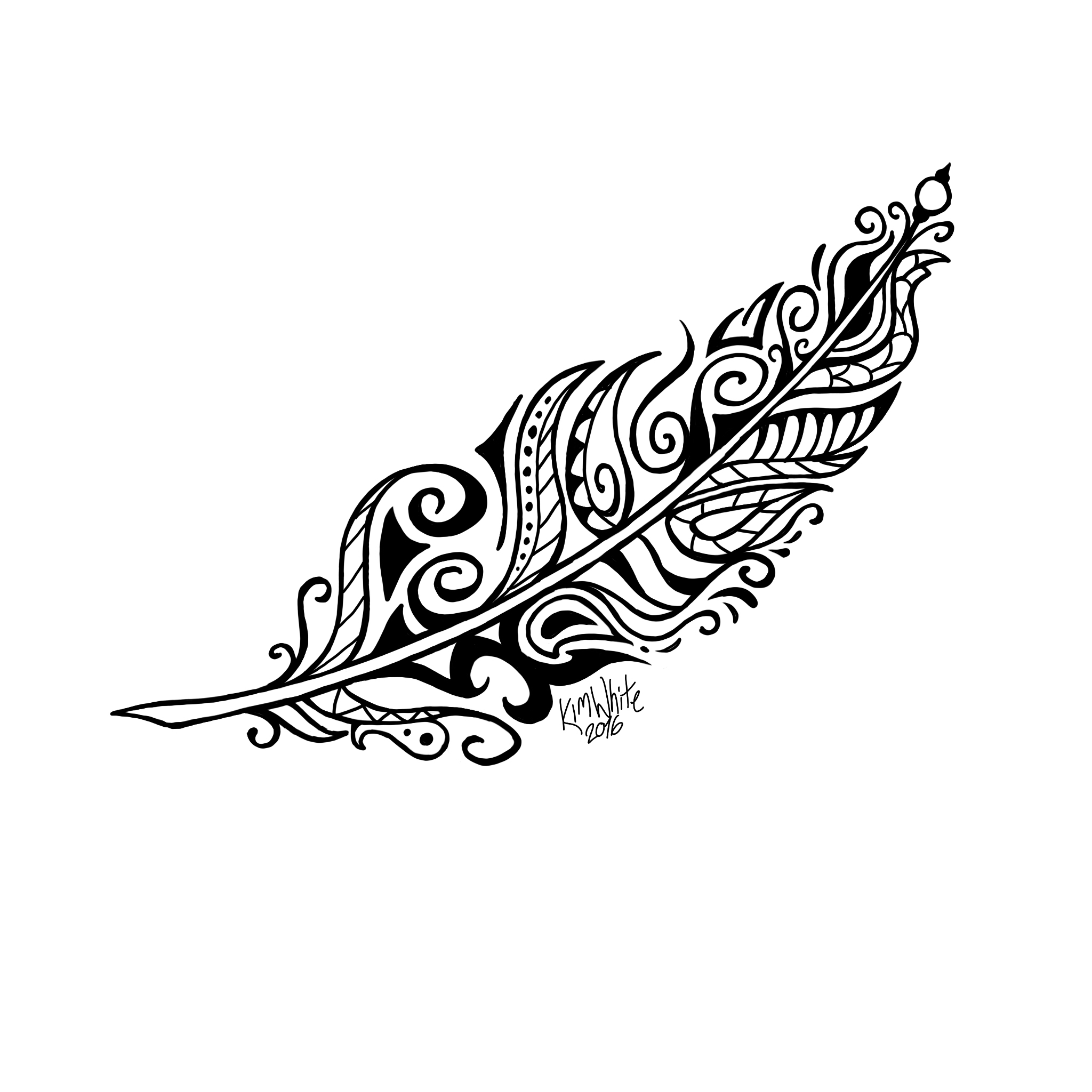 2048x2048 Tribal Henna Feather Henna Feather